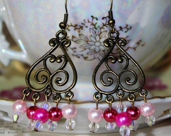 Pink and Bronze Chandelier Earrings