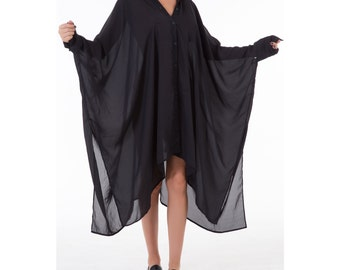 Black Plus Size Dress, Sheer Dress, Summer Dress, Oversized Tunic, Summer Tunic, Long Tunic, See Through Dress, Black Tunic Dress