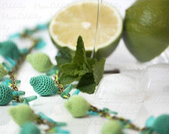 Mojito cocktail Mint leaves Crochet jewelry Citrus fruits Lime green Crochet necklace Nature fresh Lemon ice Green necklace Fruit jewelry