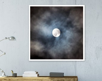 Large Print Poster Art Digital Full Moon  Art Home Decor Giclee Screenprint Letterpress Gallery Wall PRINTABLE Extra Large