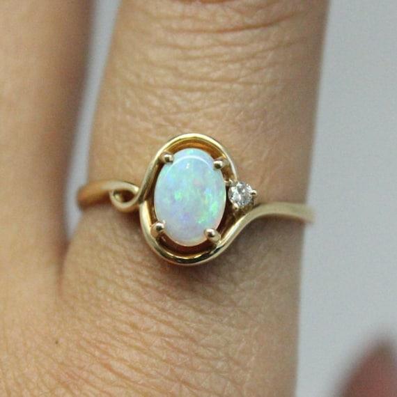 Opal Diamond 14k Gold Ring   Diamond Gold Ring   Thin Gold Ring   Bridesmaids Gift   Genuine Opal Stone   Christmas Gift