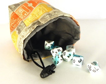 "Limited Edition Custom Dice Bag - ""Admit One"" pattern - Choice of Interior Color"