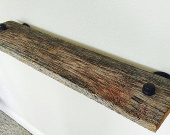 Reclaimed Wood Pipe Shelf