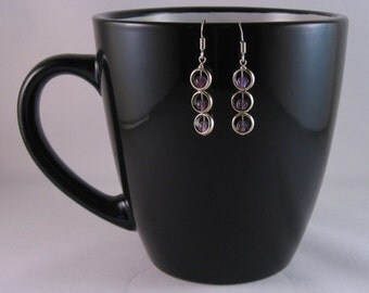 Silver circles and amethyst earrings