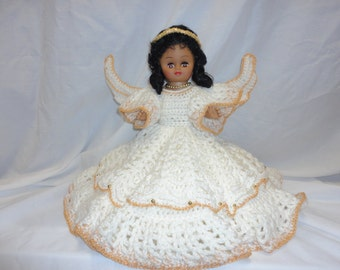 Angel Doll in Crocheted White Dress with Wings and Halo, Unique Gifts