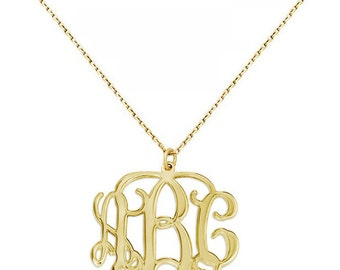 3 Initials Monogram necklace - 1 inch any initial Gold monogram necklace in 18k yellow gold plated 925 sterling silver