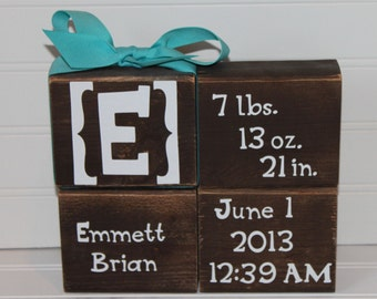 Personalized baby birth announcement blocks, birth blocks