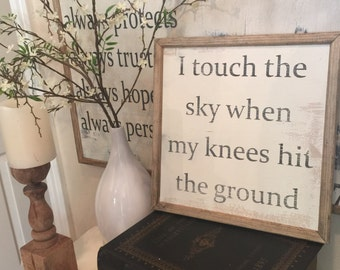 Touch the Sky 12x12 Handmade Wood Sign