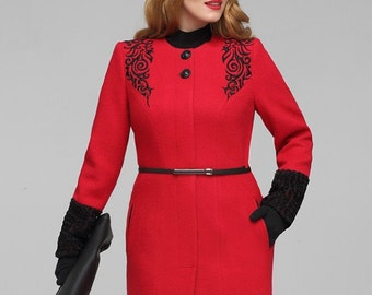 897, Women Coats. Coats pencil without a collar, with vintage volume embroidery, zip secret. Plus size coat