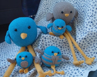 Crocheted Bird Family