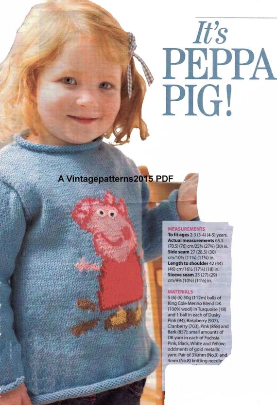 Peppa Pig Sweater Jumper Knitting Pattern 2 by VintagePatterns2015