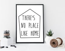 There's No Place Like Home Quote - Instant Digital Download - Printable Poster - Modern Black and White Typography Print, Scandinavian Print