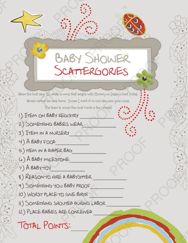 baby shower scattergories girl and boy theme printable baby
