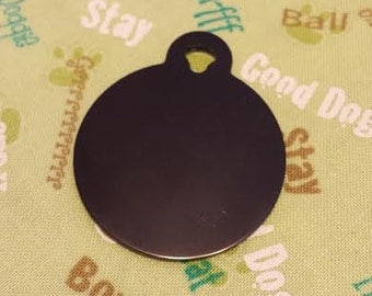 Pet ID Tags, Dog Tags, Cat Tags, Engraved Pet ID Tags, Large Black Circle Tag
