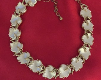 Marvella White Thermaset type necklace leaves with goldtone setting