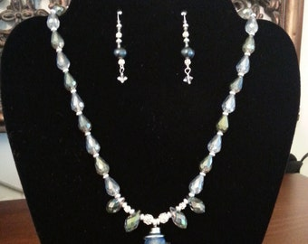 Handcrafted silver beads, blue pearls and crystal earrings
