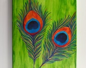 Colorful Peacock Feathers Acrylic Canvas Painting
