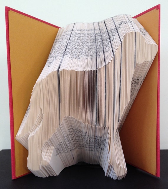 mountain dog book folding pattern  diy gift for folded book