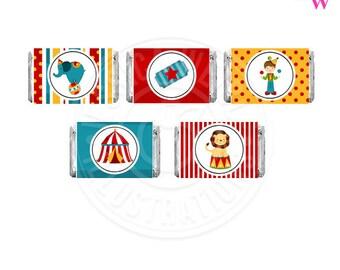 Fun Time Circus Printable Candy Bar Wrappers, Chocolate Bar Labels, Circus Party Printables, Circus Candy Wrappers, Circus Party, Big Top