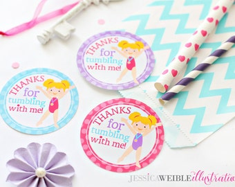 Blonde Girls Gymnastics Printable Party Favor Tags, Cupake Toppers, Printable Gymnastics Party Favors, Thanks for Tumbling with Me, Gymnast
