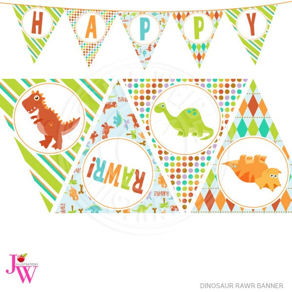 Party Banner, Printable Dinosaur Happy Birthday Banner, Dinosaur Party ...