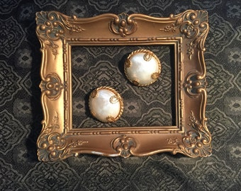 Dominique Aurientis Pearl and Gold Button Earrings