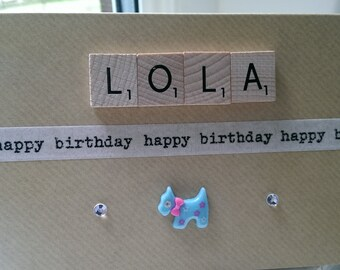 Personalised Happy Birthday Blank Wooden Scrabble Letters Greetings Card - GIRL