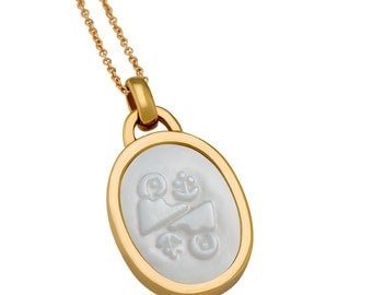 Gemini Mother Of Pearl Zodiac Charm Necklace