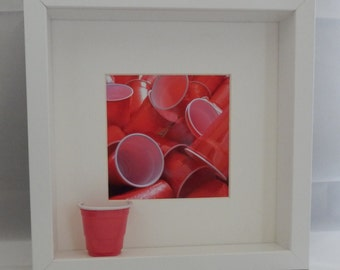 Red Cups Shadow Box in White or Black Frame