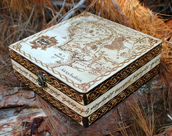 LOTR Middle Earth Map Wooden Pyrography Box The Lord of the Rings, The Hobbit