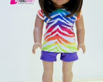 Special Sale 18 inch Girl Doll Clothes, handmade to fit like American Girl doll clothes, Zebra Striped Knit Top and Purple Knit Shorts