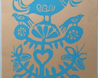 Small Vintage Folk Art Screenprint by Gail Holliday - Blue/Tan