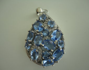 Blue Sapphire Pendant Sterling Silver
