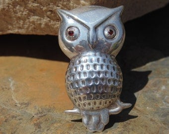 Vintage Puffy Sterling Silver Owl with Red Eyes Standing on a Branch Pin
