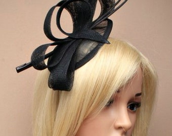 Stunning Black Wedding Hat with Ostrich Quills, Facinator Headband, Head Piece, Mother of the Bride, Christening