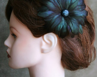 Iridescent Black to Emerald Feather Crafted Pinup Hair Flower