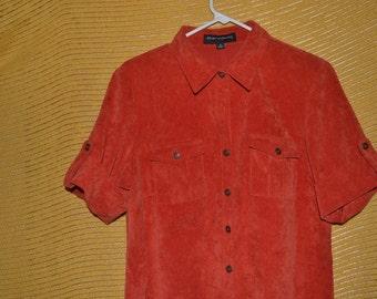Vintage Sharagano Rust Orange Corduroy Button up Dress