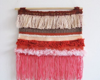 Woven Wall Hanging / Pink stripes and tassels // Handwoven Tapestry Textile Wall Art Home Decor