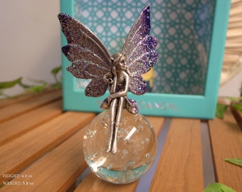 Fairy and Crystal Glass Ball - Purple Dress and Wings