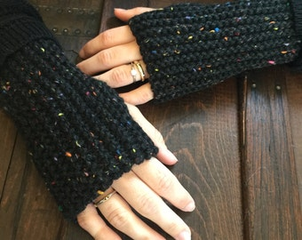 Wool Knit Fingerless Gloves - Dark Grey Funfetti