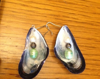 Green Mussel Earrings