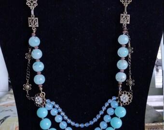 brass & glass necklace
