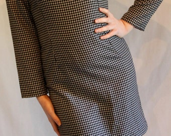 Long sleeve mini dress / 1980s power dressing