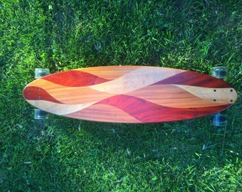 Longboard Skateboard COMPLETE or DECK Cruiser Downhill Commuter Hardwood Custom Solid Wood Exotic Domestic Mahogany Padauk Birch - Vesuvius