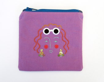 Hand Embroidered Coin Purse with zipper