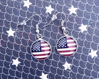 American Flag* American Apparel* 4th of July* Fourth of July* Independence Day* Red White and Blue* Dangle Earrings* Drop Earrings