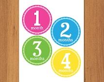 DIY Printable Monthly Onesie Iron Ons, Printable Monthly Onesie Stickers - Girl