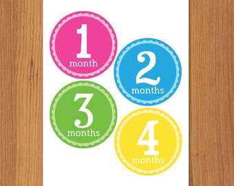 DIY Printable Monthly Onesie Iron Ons, Printable Monthly Onesie Stickers - Girl