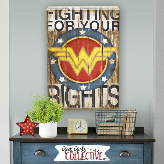 Wonder woman art print comic art vintage home wall decor - Comic themed bedroom ...