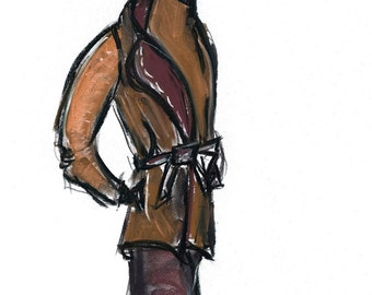 Business Brown Fashion Illustration/8x 10 Wall Art